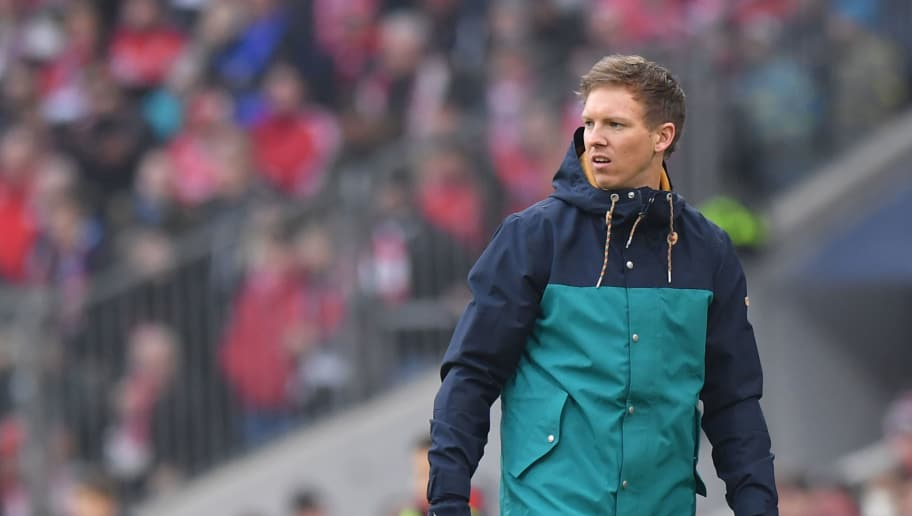 MUNICH, GERMANY - JANUARY 27: Head coach Julian Nagelsmann of Hoffenheim looks on during the Bundesliga match between FC Bayern Muenchen and TSG 1899 Hoffenheim at Allianz Arena on January 27, 2018 in Munich, Germany. (Photo by Sebastian Widmann/Bongarts/Getty Images)