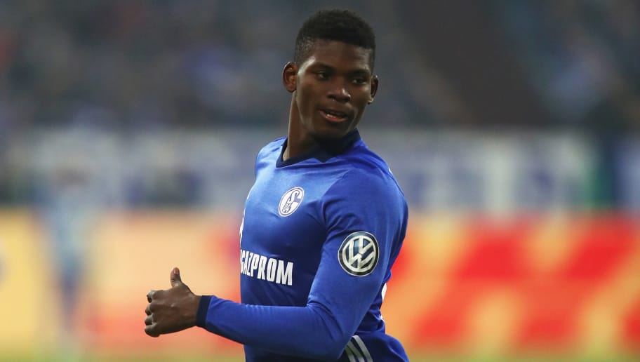 GELSENKIRCHEN, GERMANY - DECEMBER 19:  Breel Embolo of Schalke 04 in action during the DFB Pokal match between FC Schalke 04 and 1. FC Koeln at Veltins-Arena on December 19, 2017 in Gelsenkirchen, Germany.  (Photo by Dean Mouhtaropoulos/Bongarts/Getty Images)