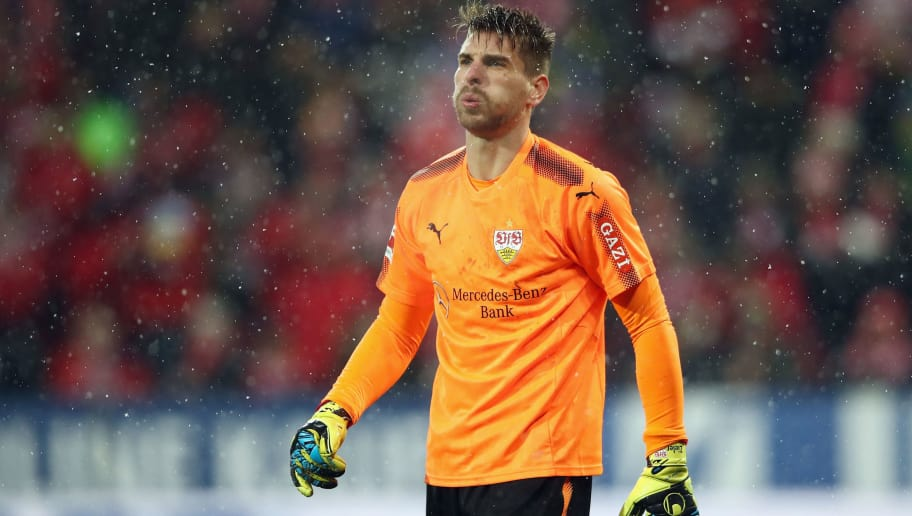 MAINZ, GERMANY - JANUARY 20:  Goalkeeper Ron-Robert Zieler of Stuttgart reacts during the Bundesliga match between 1. FSV Mainz 05 and VfB Stuttgart at Opel Arena on January 20, 2018 in Mainz, Germany.  (Photo by Alex Grimm/Bongarts/Getty Images)