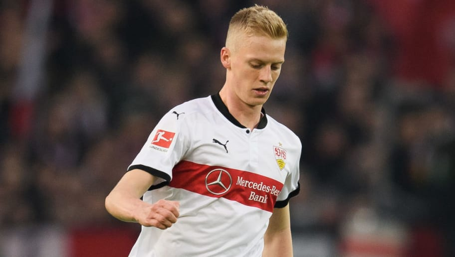 STUTTGART, GERMANY - JANUARY 13: Timo Baumgartl of Stuttgart controls the ball during the Bundesliga match between VfB Stuttgart and Hertha BSC at Mercedes-Benz Arena on January 13, 2018 in Stuttgart, Germany. (Photo by Matthias Hangst/Bongarts/Getty Images)