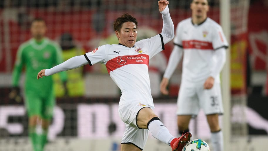 STUTTGART, GERMANY - DECEMBER 16: Takuma Asano of Stuttgart controls the ball during the Bundesliga match between VfB Stuttgart and FC Bayern Muenchen at Mercedes-Benz Arena on December 16, 2017 in Stuttgart, Germany. (Photo by Matthias Hangst/Bongarts/Getty Images)