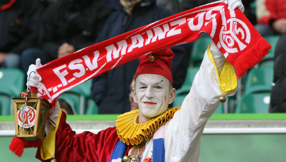 WOLFSBURG - OCTOBER 31:  A supporter of Mainz is seen prior to the Bundesliga match between VFL Wolfsburg and FSV Mainz 05 at the Volkswagen Arena on October 31, 2009 in Wolfsburg, Germany. (Photo by Matthias Kern/Bongarts/Getty Images)