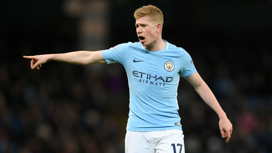 MANCHESTER, ENGLAND - JANUARY 31:  Kevin De Bruyne of Manchester City  points during the Premier League match between Manchester City and West Bromwich Albion at Etihad Stadium on January 31, 2018 in Manchester, England.  (Photo by Laurence Griffiths/Getty Images)