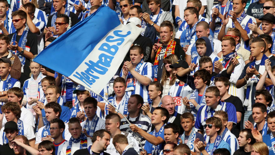 BERLIN, GERMANY-  AUGUST 30:  Supporters of Berlin are seen during the Bundesliga match between Hertha BSC Berlin and SV Werder Bremen at the Olympic Stadium on August 30, 2009 in Berlin, Germany. (Photo by Matthias Kern/Bongarts/Getty Images)