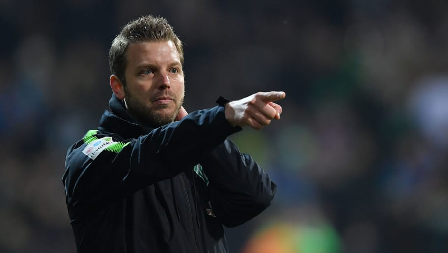 BREMEN, GERMANY - JANUARY 27: Florian Kohfeldt, coach of Bremen, points and gestures during the Bundesliga match between SV Werder Bremen and Hertha BSC at Weserstadion on January 27, 2018 in Bremen, Germany. (Photo by Stuart Franklin/Bongarts/Getty Images)