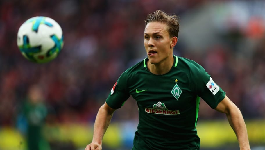 COLOGNE, GERMANY - OCTOBER 22:  Ludwig Augustinsson of Werder Bremen in action during the Bundesliga match between 1. FC Koeln and SV Werder Bremen held at RheinEnergieStadion on October 22, 2017 in Cologne, Germany.  (Photo by Dean Mouhtaropoulos/Bongarts/Getty Images)