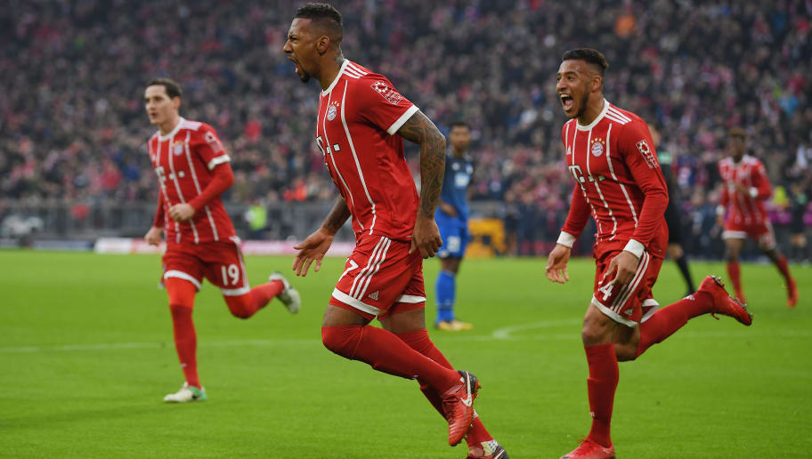 MUNICH, GERMANY - JANUARY 27: Jerome Boateng of Bayern Muenchen (17) celebrates after he scored a goal to make it 2:2 during the Bundesliga match between FC Bayern Muenchen and TSG 1899 Hoffenheim at Allianz Arena on January 27, 2018 in Munich, Germany. (Photo by Matthias Hangst/Bongarts/Getty Images)