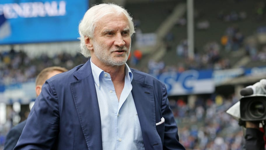 BERLIN, GERMANY - MAY 20:  Manager Rudi Voeller of Leverkusen looks on prior to the Bundesliga match between Hertha BSC and Bayer 04 Leverkusen at Olympiastadion on May 20, 2017 in Berlin, Germany.  (Photo by Matthias Kern/Bongarts/Getty Images)