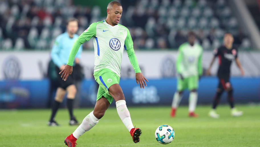 WOLFSBURG, GERMANY - JANUARY 20: Marcel Tisserand of Wolfsburg runs with the ball during the Bundesliga match between VfL Wolfsburg and Eintracht Frankfurt at Volkswagen Arena on January 20, 2018 in Wolfsburg, Germany. (Photo by Ronny Hartmann/Bongarts/Getty Images)