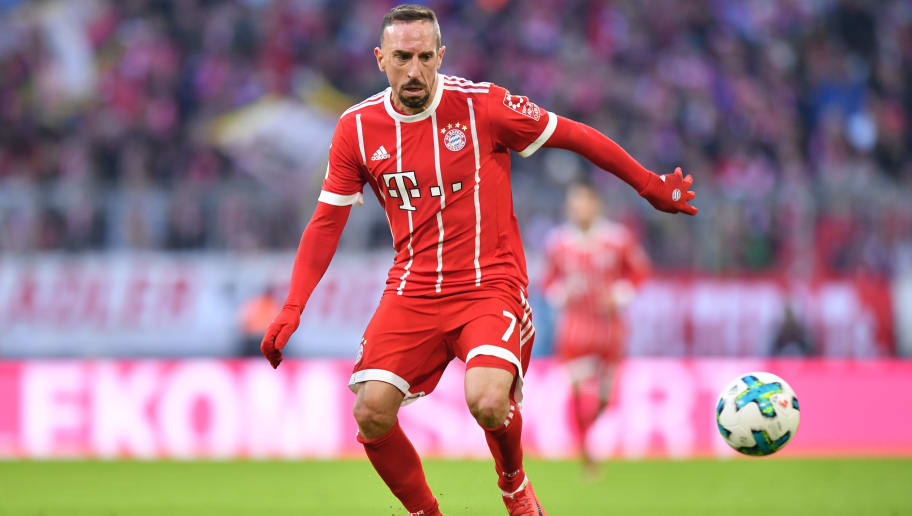 MUNICH, GERMANY - JANUARY 21: Franck Ribery of Bayern Muenchen plays the ball during the Bundesliga match between FC Bayern Muenchen and SV Werder Bremen at Allianz Arena on January 21, 2018 in Munich, Germany. (Photo by Sebastian Widmann/Bongarts/Getty Images)