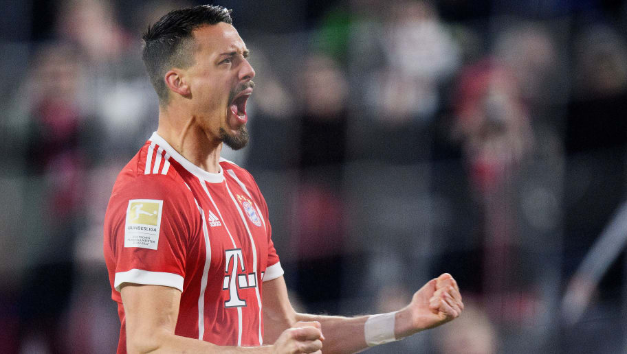 MUNICH, GERMANY - JANUARY 27: Sandro Wagner of FC Bayern Muenchen celebrates after scoring his team's fifth goal during the Bundesliga match between FC Bayern Muenchen and TSG 1899 Hoffenheim at Allianz Arena on January 27, 2018 in Munich, Germany. (Photo by Matthias Hangst/Bongarts/Getty Images)