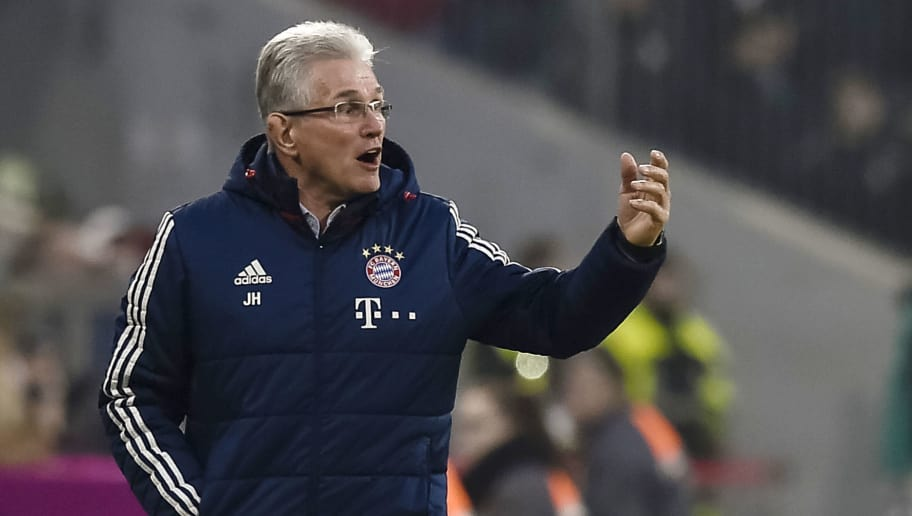 Bayern Munich's German head coach Jupp Heynckes reacts during the German first division Bundesliga football match, Bayern Munich v TSG 1899 Hoffenheim, on January 27, 2018 in Munich, southern Germany. / AFP PHOTO / Gunter SCHIFFMANN / RESTRICTIONS: DURING MATCH TIME: DFL RULES TO LIMIT THE ONLINE USAGE TO 15 PICTURES PER MATCH AND FORBID IMAGE SEQUENCES TO SIMULATE VIDEO. == RESTRICTED TO EDITORIAL USE == FOR FURTHER QUERIES PLEASE CONTACT DFL DIRECTLY AT + 49 69 650050         (Photo credit should read GUNTER SCHIFFMANN/AFP/Getty Images)