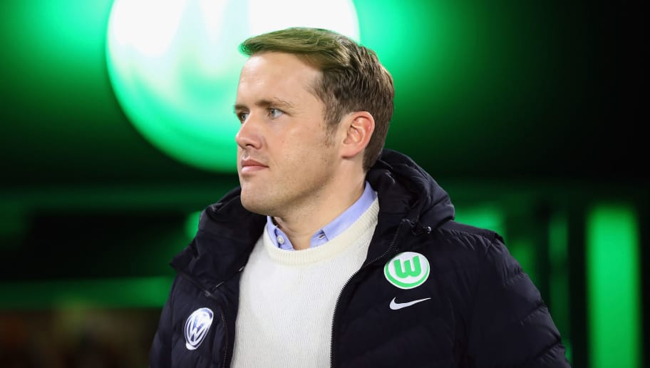 WOLFSBURG, GERMANY - NOVEMBER 05: Team manager Olaf Rebbe of Wolfsburg looks on prior to the Bundesliga match between VfL Wolfsburg and Hertha BSC at Volkswagen Arena on November 5, 2017 in Wolfsburg, Germany.  (Photo by Martin Rose/Bongarts/Getty Images)