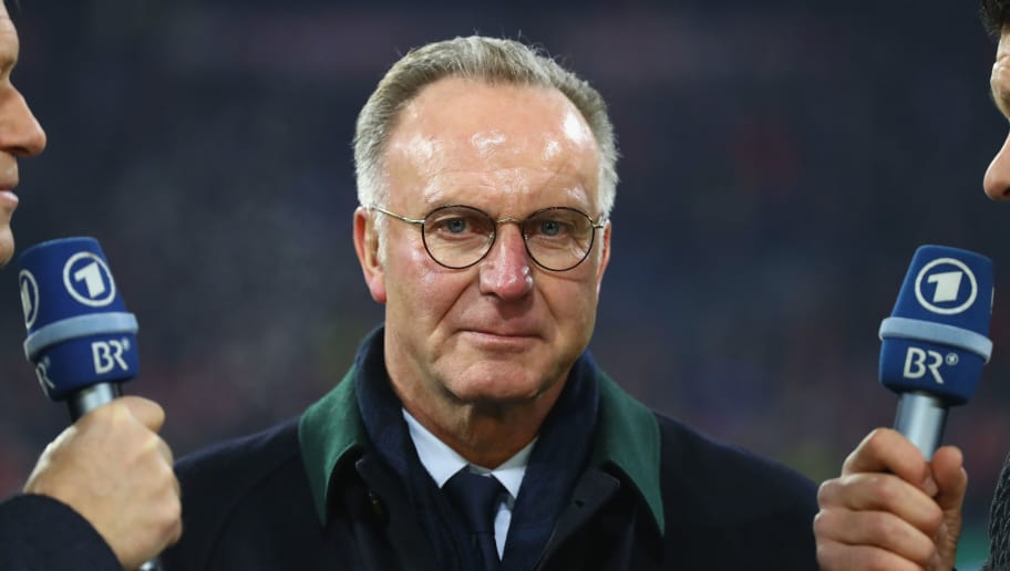 MUNICH, GERMANY - DECEMBER 20:  Karl-Heinz Rummenigge, CEO of FC Bayern Muenchen looks on prior to the DFB Cup match between Bayern Muenchen and Borussia Dortmund at Allianz Arena on December 20, 2017 in Munich, Germany.  (Photo by Alexander Hassenstein/Bongarts/Getty Images)