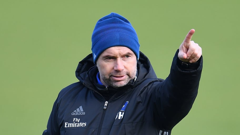 HAMBURG, GERMANY - FEBRUARY 01:  Bernd Hollerbach, head coach of Hamburg gestures during a training session of Hamburger SV at Volksparkstadion on February 1, 2018 in Hamburg, Germany.  (Photo by Stuart Franklin/Bongarts/Getty Images)