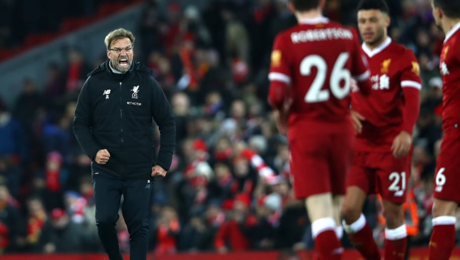 LIVERPOOL, ENGLAND - DECEMBER 30:  Jurgen Klopp, Manager of Liverpool celebrates after the Premier League match between Liverpool and Leicester City at Anfield on December 30, 2017 in Liverpool, England.  (Photo by Clive Brunskill/Getty Images)