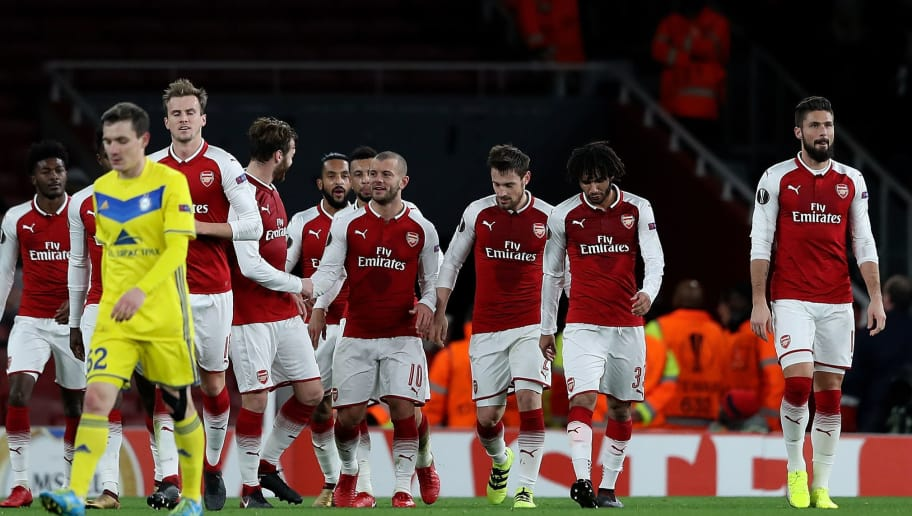 LONDON, ENGLAND - DECEMBER 07:  Jack Wilshere of Arsenal celebrates with team mates after scoring his team's second goal of the game during the UEFA Europa League group H match between Arsenal FC and BATE Borisov at Emirates Stadium on December 7, 2017 in London, United Kingdom.  (Photo by Matthew Lewis/Getty Images)