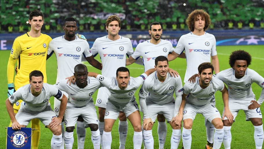Chelsea's players pose before the UEFA Champions League Group C football match between Qarabag FK and Chelsea FC in Baku on November 22, 2017. Top row from left: Chelsea's Belgian goalkeeper Thibaut Courtois, Chelsea's German defender Antonio Rudiger, Chelsea's Spanish defender Marcos Alonso, Chelsea's Italian defender Davide Zappacosta and Chelsea's Brazilian defender David Luiz. Bottom row from left : Chelsea's Spanish defender Cesar Azpilicueta, Chelsea's French midfielder N'Golo Kante, Chelsea's Spanish midfielder Pedro, Chelsea's Belgian midfielder Eden Hazard, Chelsea's Spanish midfielder Cesc Fabregas and Chelsea's Brazilian midfielder Willian. / AFP PHOTO / Kirill KUDRYAVTSEV        (Photo credit should read KIRILL KUDRYAVTSEV/AFP/Getty Images)