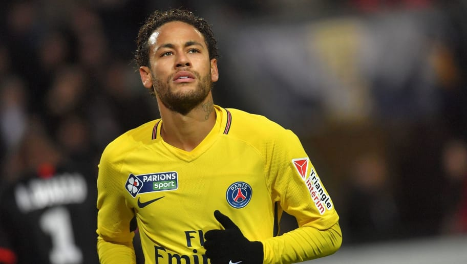 Paris Saint-Germain's Brazilian forward Neymar during the French League Cup football semi-final match between Rennes and Paris Saint-Germain at the Roazhon Park stadium in Rennes on January 30, 2018. / AFP PHOTO / LOIC VENANCE        (Photo credit should read LOIC VENANCE/AFP/Getty Images)