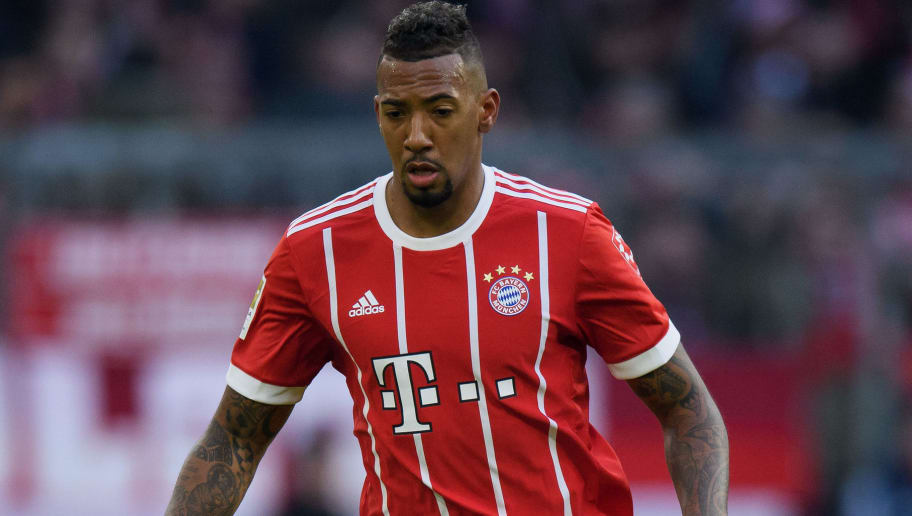 MUNICH, GERMANY - JANUARY 21: Jerome Boateng of FC Bayern Muenchen controls the ball during the Bundesliga match between FC Bayern Muenchen and SV Werder Bremen at Allianz Arena on January 21, 2018 in Munich, Germany. (Photo by Matthias Hangst/Bongarts/Getty Images)