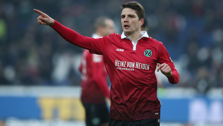 HANOVER, GERMANY - JANUARY 13:  Pirmin Schwegler of Hannover gesticulated during the Bundesliga match between Hannover 96 and 1. FSV Mainz 05 at HDI-Arena on January 13, 2018 in Hanover, Germany.  (Photo by Oliver Hardt/Bongarts/Getty Images)