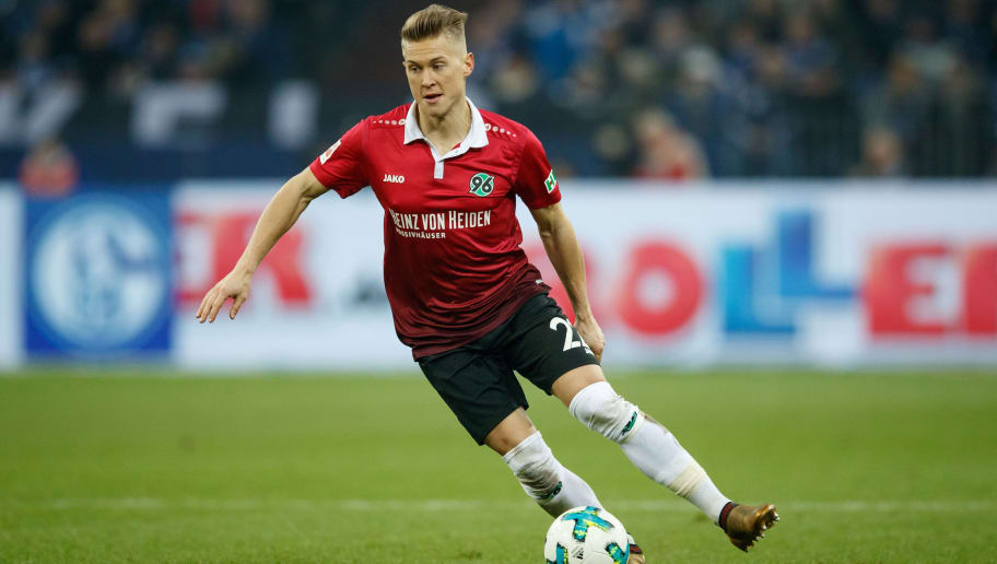 GELSENKIRCHEN, GERMANY - JANUARY 21:  Matthias Ostrzolek of Hannover runs with the ball during the Bundesliga match between FC Schalke 04 and Hannover 96 at Veltins-Arena on January 21, 2018 in Gelsenkirchen, Germany.  (Photo by Lars Baron/Bongarts/Getty Images)