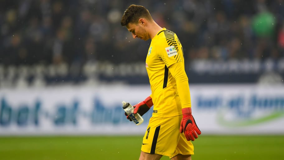 Bremen's Czech goalkeeper Jiri Pavlenka reacts during the German first division Bundesliga football match Schalke 04 versus Werder Bremen on February 3, 2018 in Gelsenkirchen. / AFP PHOTO / Patrik STOLLARZ / RESTRICTIONS: DURING MATCH TIME: DFL RULES TO LIMIT THE ONLINE USAGE TO 15 PICTURES PER MATCH AND FORBID IMAGE SEQUENCES TO SIMULATE VIDEO. == RESTRICTED TO EDITORIAL USE == FOR FURTHER QUERIES PLEASE CONTACT DFL DIRECTLY AT + 49 69 650050         (Photo credit should read PATRIK STOLLARZ/AFP/Getty Images)