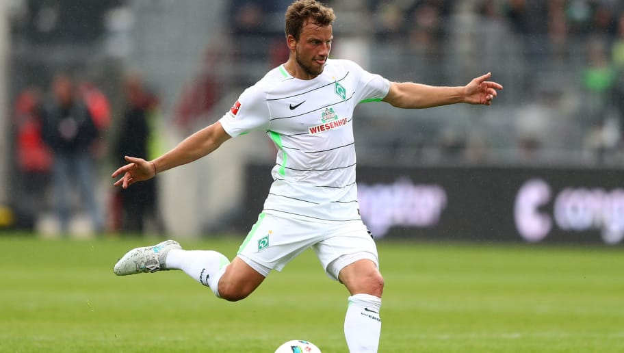 HAMBURG, GERMANY - JULY 22:  Philipp Bargfrede of Bremen runs with the ball during the preseason friendly match between FC St. Pauli and Werder Bremen at Millerntor Stadium on July 22, 2017 in Hamburg, Germany.  (Photo by Martin Rose/Bongarts/Getty Images)