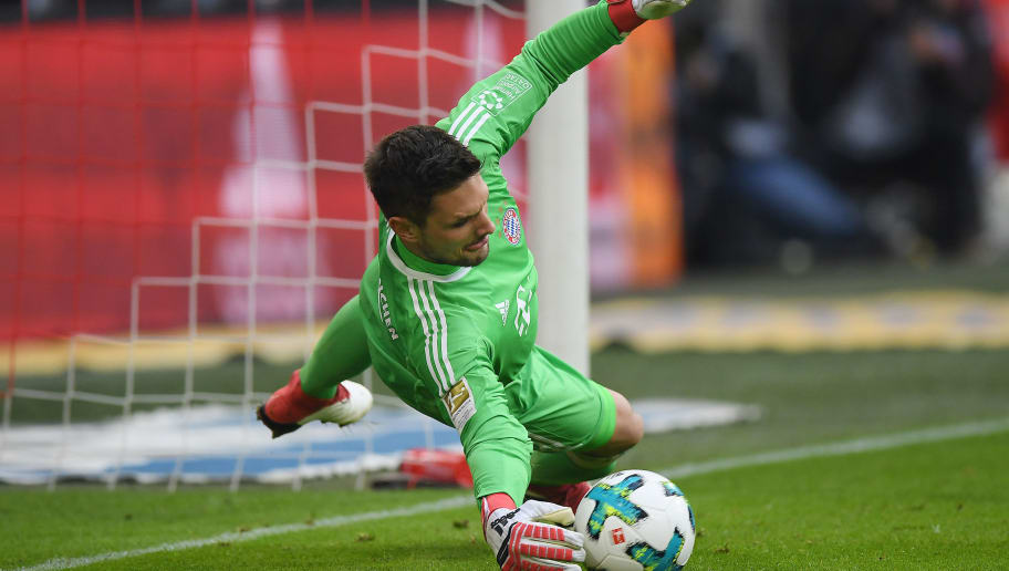 MUNICH, GERMANY - JANUARY 27: Goalkeeper Sven Ulreich of Bayern Muenchen safes a penalty, however Mark Uth of Hoffenheim (not pictured later scored the rebound, during the Bundesliga match between FC Bayern Muenchen and TSG 1899 Hoffenheim at Allianz Arena on January 27, 2018 in Munich, Germany. (Photo by Matthias Hangst/Bongarts/Getty Images)