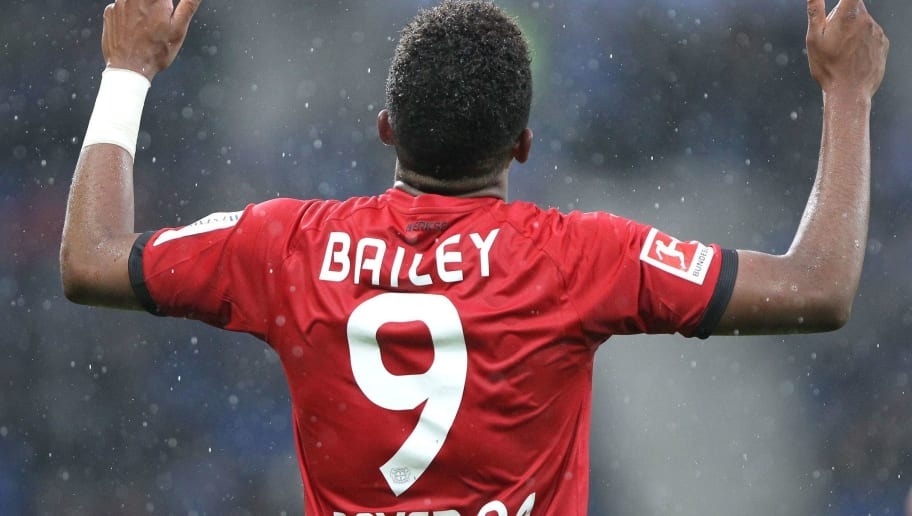 Leverkusen's Jamaican midfielder Leon Bailey celebrates after scoring the 0-1 during the German First division Bundesliga football match TSG 1899 Hoffenheim vs Bayer 04 Leverkusen in Sinsheim, southwestern Germany, on January 20, 2018. / AFP PHOTO / Amelie QUERFURTH / RESTRICTIONS: DURING MATCH TIME: DFL RULES TO LIMIT THE ONLINE USAGE TO 15 PICTURES PER MATCH AND FORBID IMAGE SEQUENCES TO SIMULATE VIDEO. == RESTRICTED TO EDITORIAL USE == FOR FURTHER QUERIES PLEASE CONTACT DFL DIRECTLY AT + 49 69 650050         (Photo credit should read AMELIE QUERFURTH/AFP/Getty Images)