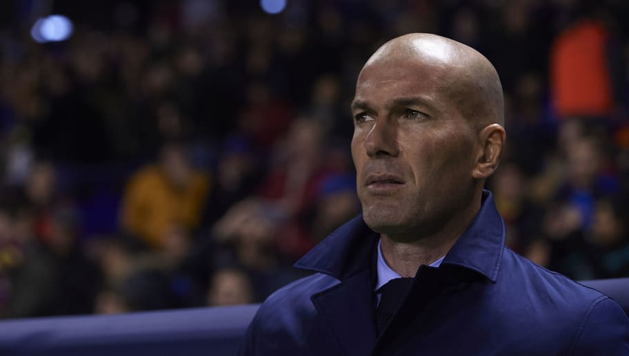 VALENCIA, SPAIN - FEBRUARY 03:  Zinedine Zidane, Manager of Real Madrid looks on prior to the La Liga match between Levante and Real Madrid at Ciutat de Valencia on February 3, 2018 in Valencia, Spain.  (Photo by Manuel Queimadelos Alonso/Getty Images)