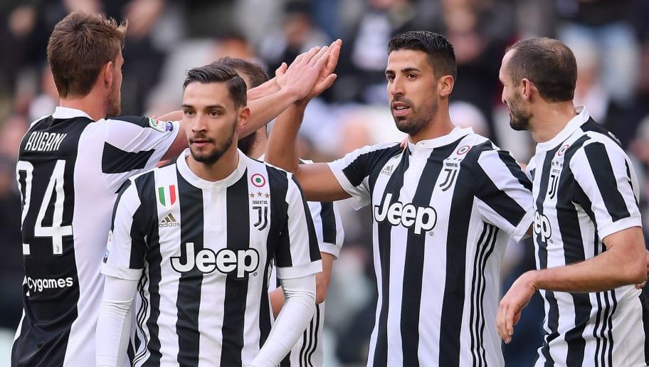 Juventus' midfielder Sami Khedira (2nd R) celebrates with teammates after scoring a goal wduring the Italian Serie A football match Juventus Vs Sassuolo on February 4, 2018 at the 'Allianz Stadium' in Turin.  / AFP PHOTO / MARCO BERTORELLO        (Photo credit should read MARCO BERTORELLO/AFP/Getty Images)