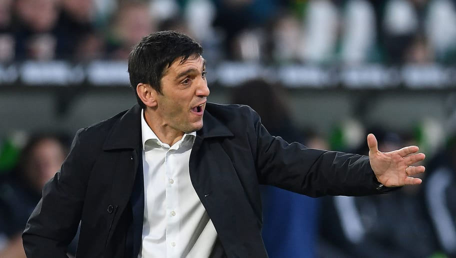 WOLFSBURG, GERMANY - FEBRUARY 03: Tayfun Korkut, coach of Stuttgart, gestures during the Bundesliga match between VfL Wolfsburg and VfB Stuttgart at Volkswagen Arena on February 3, 2018 in Wolfsburg, Germany. (Photo by Stuart Franklin/Bongarts/Getty Images)