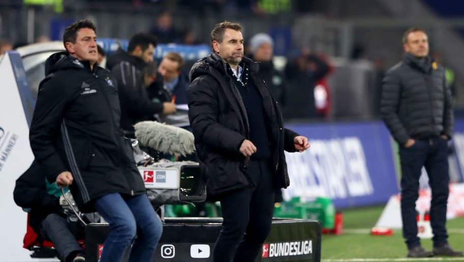 HAMBURG, GERMANY - FEBRUARY 04:  Bernd Hollerbach, head coach of Hamburg reacts during the Bundesliga match between Hamburger SV and Hannover 96 at Volksparkstadion on February 4, 2018 in Hamburg, Germany.  (Photo by Martin Rose/Bongarts/Getty Images)