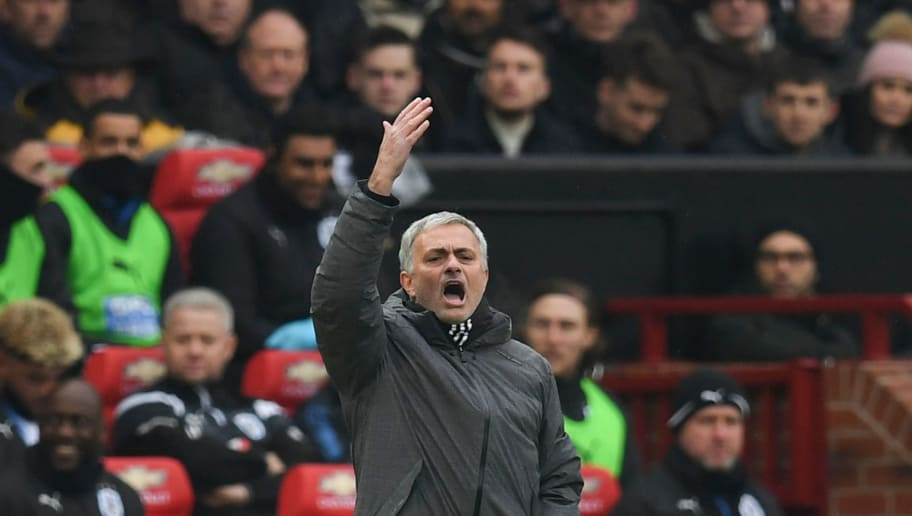 Manchester United's Portuguese manager Jose Mourinho gestures rom the touchline during the English Premier League football match between Manchester United and Huddersfield Town at Old Trafford in Manchester, north west England, on February 3, 2018. / AFP PHOTO / Paul ELLIS / RESTRICTED TO EDITORIAL USE. No use with unauthorized audio, video, data, fixture lists, club/league logos or 'live' services. Online in-match use limited to 75 images, no video emulation. No use in betting, games or single club/league/player publications.  /         (Photo credit should read PAUL ELLIS/AFP/Getty Images)
