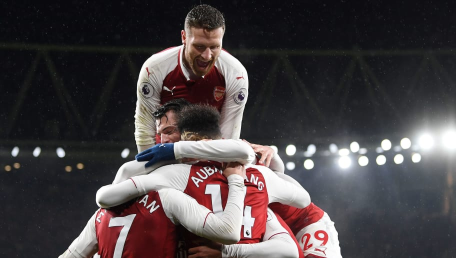 LONDON, ENGLAND - FEBRUARY 03:  Pierre-Emerick Aubameyang of Arsenal celebrates after scoring his sides fourth goal with teammates during the Premier League match between Arsenal and Everton at Emirates Stadium on February 3, 2018 in London, England.  (Photo by Michael Regan/Getty Images)