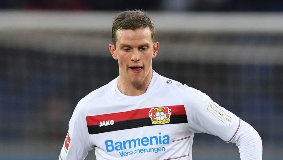 HANOVER, GERMANY - DECEMBER 17:  Sven Bender of Leverkusen in action during the Bundesliga match between Hannover 96 and Bayer 04 Leverkusen at HDI-Arena on December 17, 2017 in Hanover, Germany.  (Photo by Stuart Franklin/Bongarts/Getty Images)
