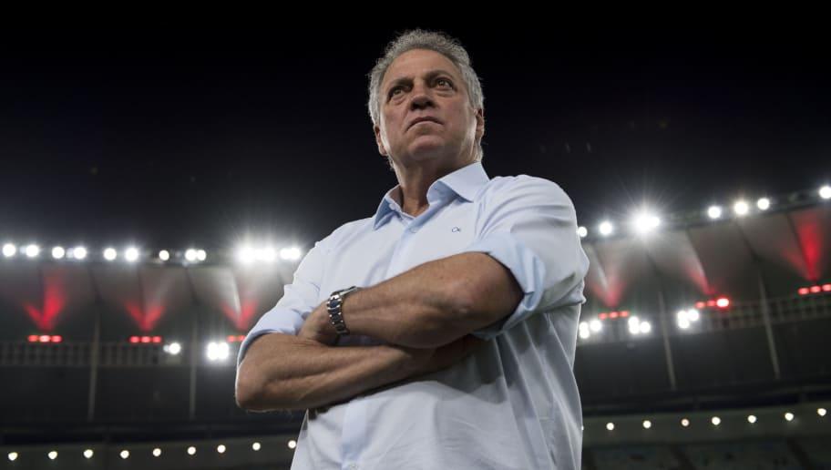 Brazil's Fluminense coach Abel Braga gesture during the 2017 Sudamericana Cup football match against Brazil's Flamengo at Maracana stadium in Rio de Janeiro, Brazil, on October 25, 2017.  / AFP PHOTO / Mauro PIMENTEL        (Photo credit should read MAURO PIMENTEL/AFP/Getty Images)