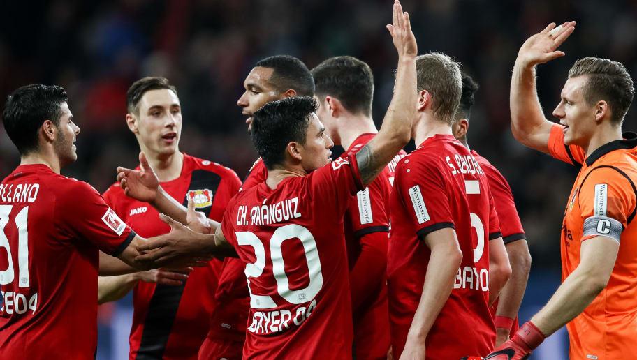 LEVERKUSEN, GERMANY - JANUARY 28: Players of Bayer Leverkusen celebrate after the Bundesliga match between Bayer 04 Leverkusen and 1. FSV Mainz 05 at BayArena on January 28, 2018 in Leverkusen, Germany. (Photo by Maja Hitij/Bongarts/Getty Images)
