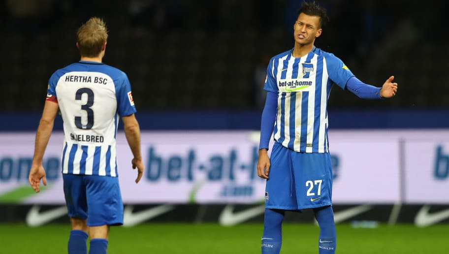 BERLIN, GERMANY - FEBRUARY 03: Per Ciljan Skjelbred of Berlin (l) and Davie Selke of Berlin dejected after the Bundesliga match between Hertha BSC and TSG 1899 Hoffenheim at Olympiastadion on February 3, 2018 in Berlin, Germany. (Photo by Martin Rose/Bongarts/Getty Images)