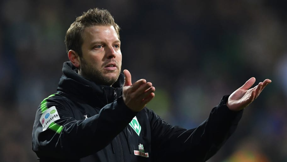 BREMEN, GERMANY - JANUARY 27:  Florian Kohfeldt, head coach of Bremen reacts during the Bundesliga match between SV Werder Bremen and Hertha BSC at Weserstadion on January 27, 2018 in Bremen, Germany.  (Photo by Stuart Franklin/Bongarts/Getty Images)
