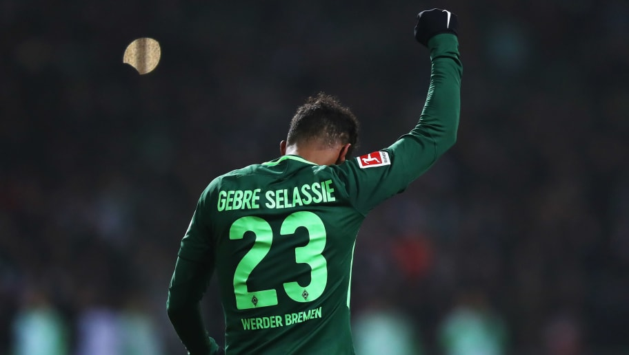 BREMEN, GERMANY - JANUARY 13:  Theodor Gebre Selassie of Werder Bremen celebrates scoring his teams first goal of the game during the Bundesliga match between SV Werder Bremen and TSG 1899 Hoffenheim at Weserstadion on January 13, 2018 in Bremen, Germany.  (Photo by Dean Mouhtaropoulos/Bongarts/Getty Images)