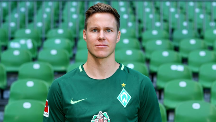 BREMEN, GERMANY - JULY 19:  Niklas Moisander of Werder Bremen poses during the team presentation at Weser Stadium on July 19, 2017 in Bremen, Germany.  (Photo by Christof Koepsel/Bongarts/Getty Images)