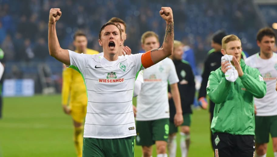 Bremen's German forward Max Kruse reacts after the German first division Bundesliga football match Schalke 04 versus Werder Bremen on February 3, 2018 in Gelsenkirchen. / AFP PHOTO / Patrik STOLLARZ / RESTRICTIONS: DURING MATCH TIME: DFL RULES TO LIMIT THE ONLINE USAGE TO 15 PICTURES PER MATCH AND FORBID IMAGE SEQUENCES TO SIMULATE VIDEO. == RESTRICTED TO EDITORIAL USE == FOR FURTHER QUERIES PLEASE CONTACT DFL DIRECTLY AT + 49 69 650050         (Photo credit should read PATRIK STOLLARZ/AFP/Getty Images)