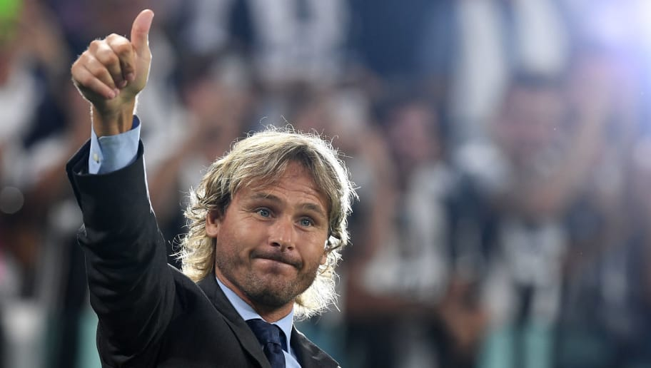 TURIN, ITALY - AUGUST 20:  Juventus FC vice president Pavel Nedved salutes the fans during the Serie A match between Juventus FC and ACF Fiorentina at Juventus Arena on August 20, 2016 in Turin, Italy.  (Photo by Valerio Pennicino/Getty Images)