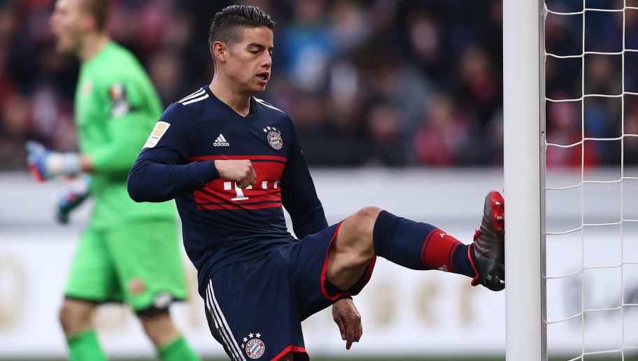 MAINZ, GERMANY - FEBRUARY 03: James Rodriguez of Bayern Muenchen kicks the post in frustration during the Bundesliga match between 1. FSV Mainz 05 and FC Bayern Muenchen at Opel Arena on February 3, 2018 in Mainz, Germany. (Photo by Alex Grimm/Bongarts/Getty Images)