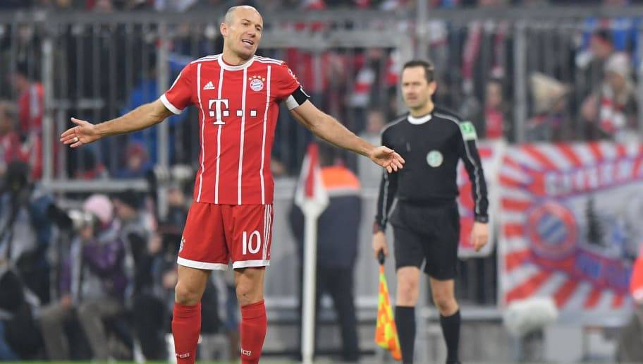 MUNICH, GERMANY - JANUARY 27: Arjen Robben of Muenchen gestures during the Bundesliga match between FC Bayern Muenchen and TSG 1899 Hoffenheim at Allianz Arena on January 27, 2018 in Munich, Germany. (Photo by Sebastian Widmann/Bongarts/Getty Images)