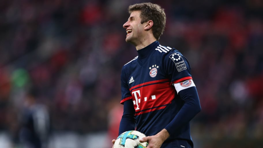 MAINZ, GERMANY - FEBRUARY 03: Thomas Mueller of Muenchen reacts with the ball during the Bundesliga match between 1. FSV Mainz 05 and FC Bayern Muenchen at Opel Arena on February 3, 2018 in Mainz, Germany.  (Photo by Alex Grimm/Bongarts/Getty Images)
