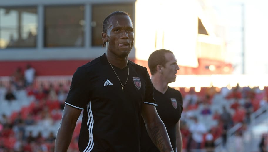 PHOENIX, AZ - JUNE 10:  Didier Drogba #11 of Phoenix Rising FC walks off the field after warms ups prior to the match against the Vancouver Whitecaps II at Phoenix Rising Soccer Complex on June 10, 2017 in Phoenix, Arizona.  (Photo by Jennifer Stewart/Getty Images)