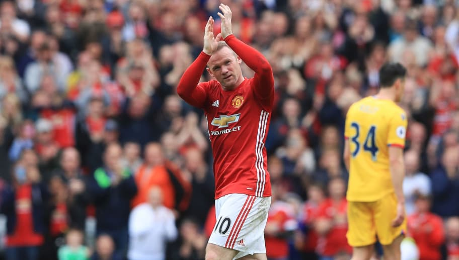 MANCHESTER, ENGLAND - MAY 21:  Wayne Rooney of Manchester United applauds supporters as he is subtituted during the Premier League match between Manchester United and Crystal Palace at Old Trafford on May 21, 2017 in Manchester, England.  (Photo by Matthew Lewis/Getty Images)